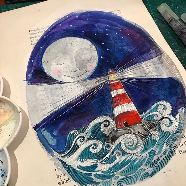 Moonlight moonbright! We will all be filled with vibrant dreams and moonshadowed rooms over the next few nights. Sweet dreams. #moon #moonlight #lighthousepoint #lighthouseillustration #deepsea #seascape #moonlightonwater #vintagebookpages #artonpaper #artforwalls #collectart #irishart #keepcreative #exploretocreate #explorationgram