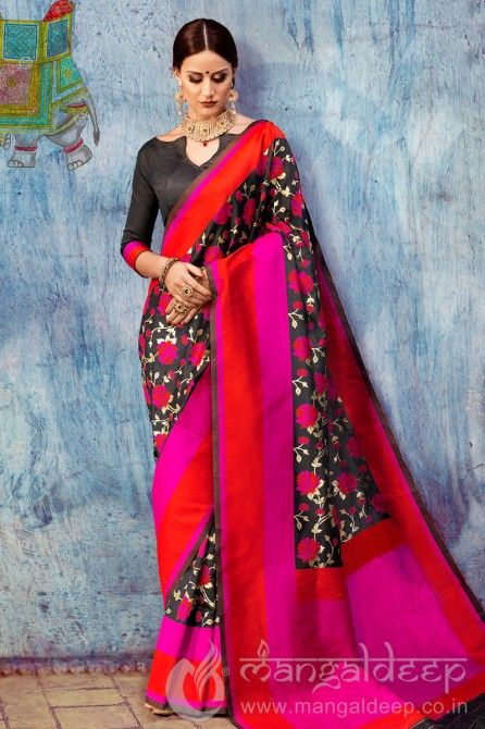 Multi-Colour Silk Print Work Saree
