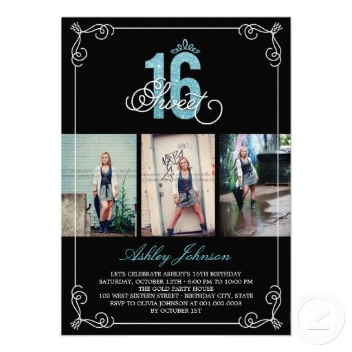 Chic Flourish Glam Sweet 16 Photo Birthday Party Custom Invite - birthday invitations for teens and young adults by fatfatin