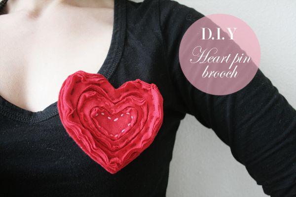 DIY Upcycled Heart Pin Brooch