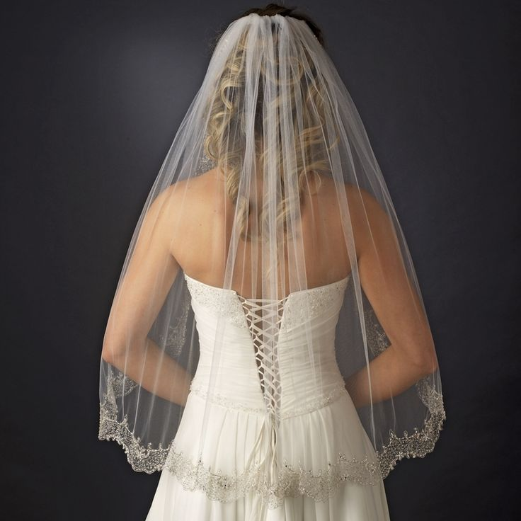 Beaded silver or gold embroidery elbow length wedding veil