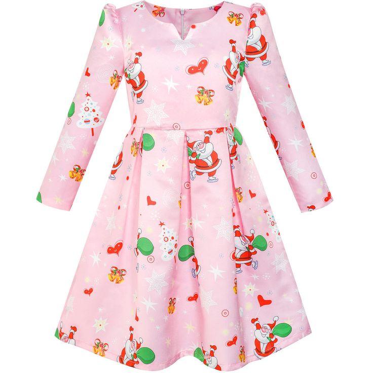 Sunny Fashion Robe Fille Noël Père Noël Noël Arbre An Cadeau Habiller