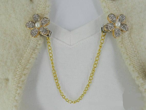 Gold collar chains, Sweater pins, Cardigan clips, Cardigan guard, Gold sweater pin, Sweater clasps, Sweater closure, Vintage collar chains by StudioSmiley on Etsy