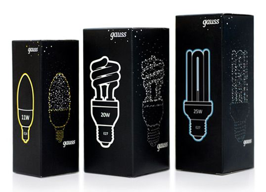 Gauss Lamps – beautiful light bulb packaging.