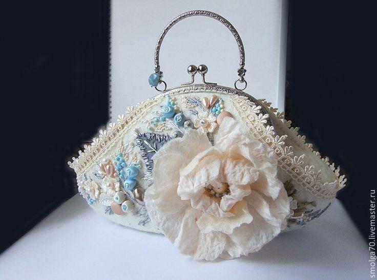 """Купить мини-сумочка """"Лизонька"""" - белый, белый с голубым, голубой, авторская сумочка, арт-сумка"""