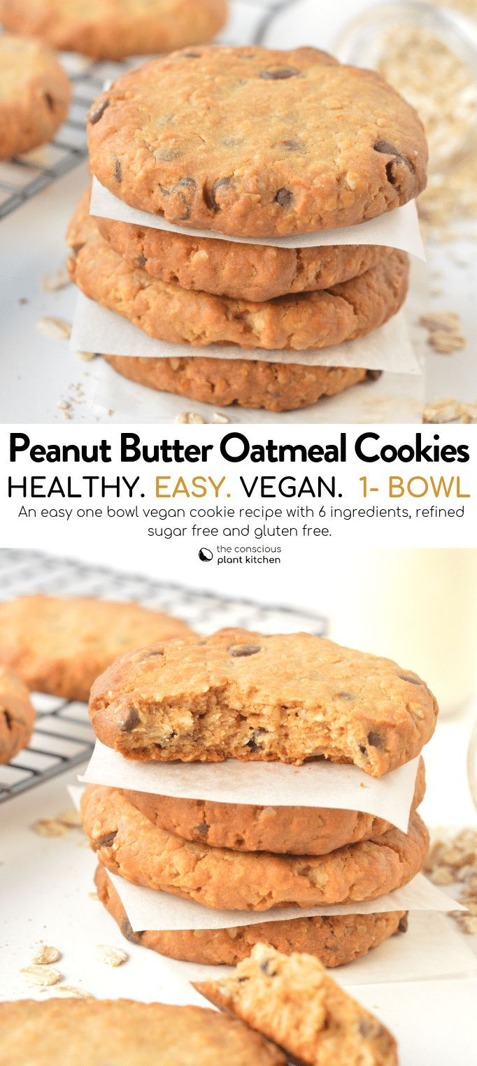 HEALTHY OATMEAL PEANUT BUTTER COOKIES. Easy, NO Gluten, NO Banana, Peanut butter…
