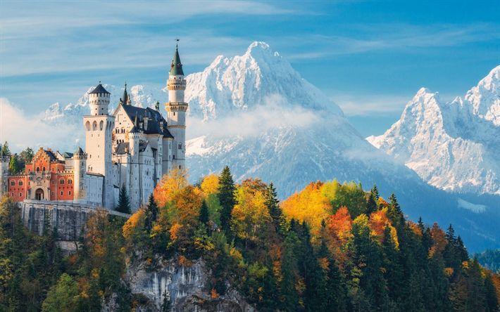 Download wallpapers Neuschwanstein Castle, Bavaria, romantic castle, landmark, Germany, mountains, autumn