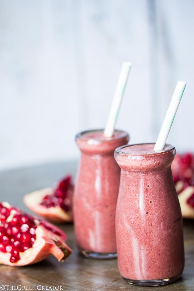 The pomegranate has been a symbol of love and fertility. This goes all the way back to ancient Greece times. So I figured the best way to show some love is with a Pomegranate Love Smoothie.
