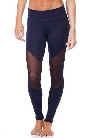 Onzie Track Legging in Black/Mesh/Black
