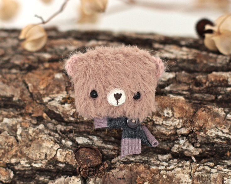 Fabric brooch bear mini animal brooch viscose bear teddy crochet amigurumi teddy bear soft brooch mini bear handmade brooch by KodamaLife on Etsy