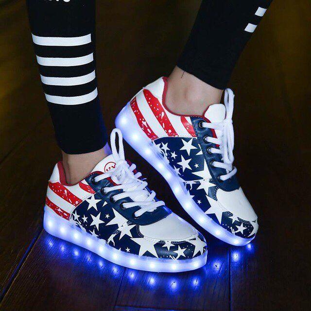 Tienda Online Nueva Caliente 2016 Zapatos unisex Luminoso resplandor Led Hombres y Mujeres bandera americana Zapatos para Adultos Zapatos Casuales USB Recargable de Luz Led | Aliexpress móvil