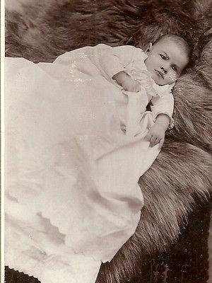 CABINET PHOTO ADORABLE LITTLE BABY IN LONG GOWN ON FUR RUG PUEBLO COLORADO