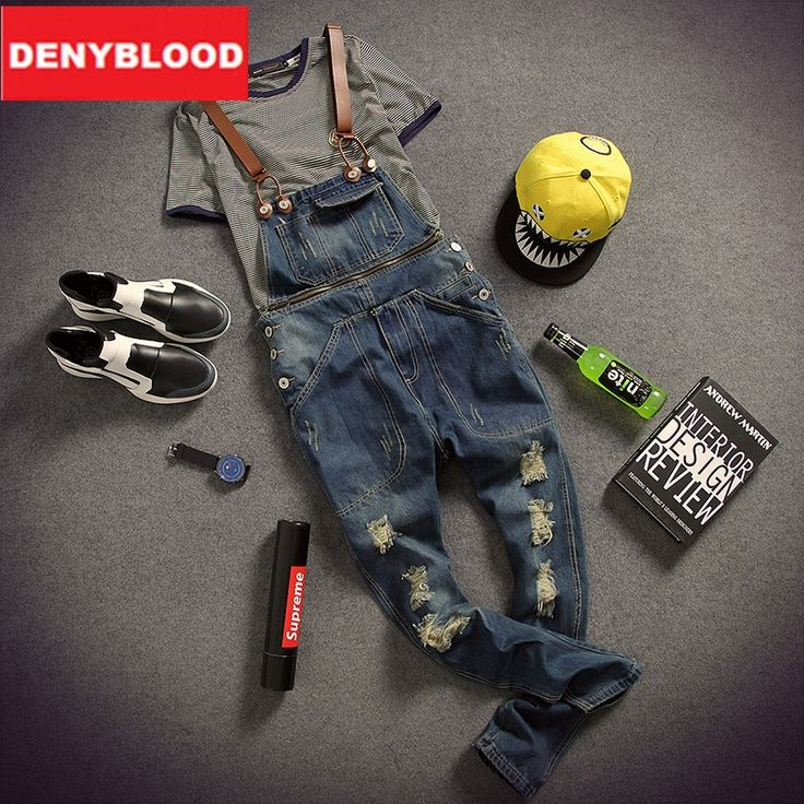 (67.95$)  Watch more here  - Mens Distressed Jeans Ripped Jumpsuit Denim Overalls Men Baggy Cargo Pants with Suspenders Denim Bib Overalls For Men K121