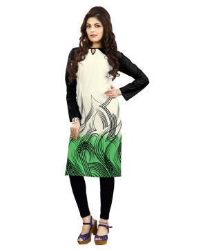 Fashioncraft White And Grean Printed Cotton Casual Wear Kurti