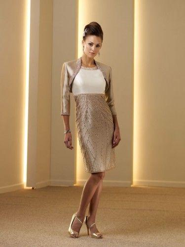 Slim Knee-length Silk Shantung Corset Bodice Modified Scoop Bateau Neckline Mother of the Bride Dress