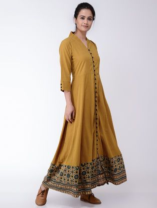 Mustard-Indigo Ajrakh-printed Flared Cotton Dress
