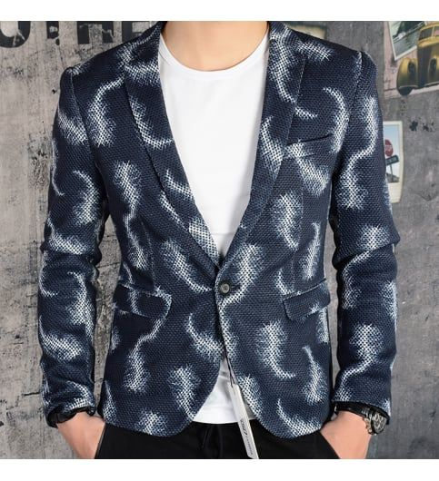 Navy Blue Printed Blazer For Men #Blazer