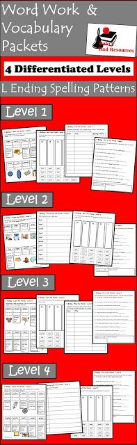 Free L Ending Vocabulary   Spelling words that end in le el and al is particularly challenging for students. This L Endings Spelling and Vocabulary Packet gives you four levels of practice to help your students spell and understand these words. Download this packet for free from my Teachers Pay Teachers store.  3 - 5 al el l endings le Raki's Rad Resources spelling spelling activities spelling patterns vocabulary