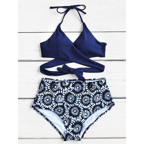 SheIn(sheinside) Calico Print Wrap High Waist Bikini Set (226.030 IDR) ❤ liked on Polyvore featuring swimwear, bikinis, navy, high rise bikini, floral high-waisted bikinis, high-waisted bikinis, halter neck bikini and floral bikini