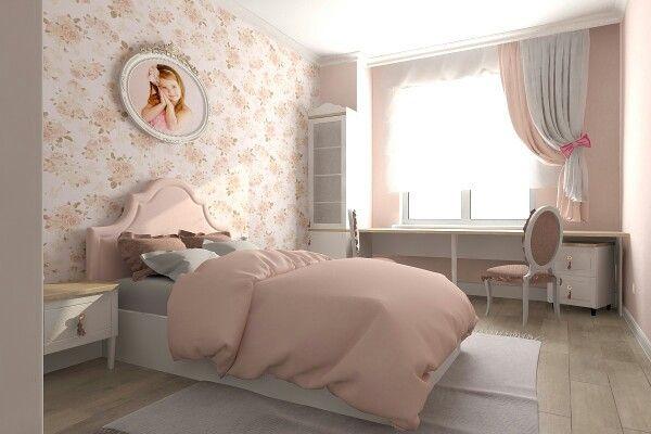 Персиковая детская. Дизайн интерьера - детская комната для девочки
