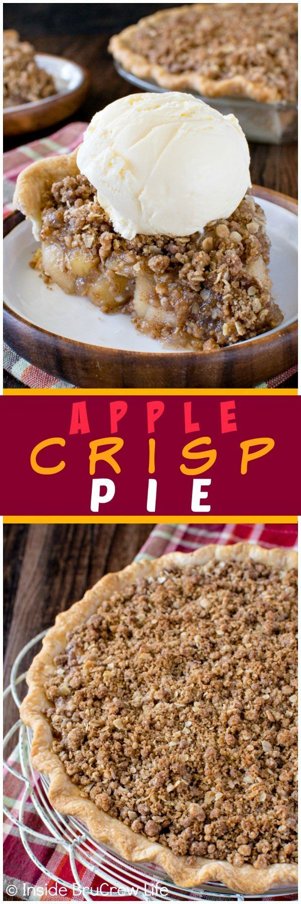 Apple Crisp Pie - homemade apple pie filling and a crunchy streusel topping makes this an easy fall dessert recipe to make!  Great for Thanksgiving day dinners!