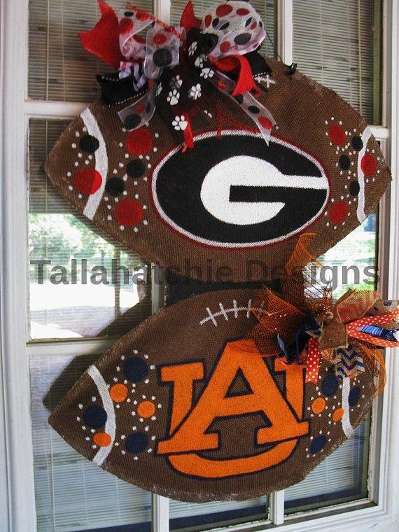 Georgia Burlap Football Door Hanger Auburn House Divided Football  Collegiate Tailgating Hand painted Door Hanger Football
