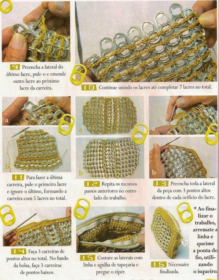 Voici un joli modèle de pochette au crochet fait à partir des languettes des canettes , avec son pas à pas en images trouvé ici ... Et voici le pas à pas en image de cette jolie pochette Bon crochet ...