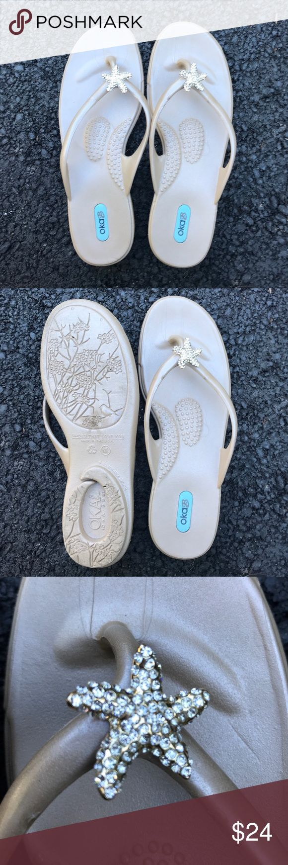 Oka B sparkle heaven! Neutral flip flops blingy! These are the kind of shoes that look waaaay more expensive than they are.  They are made out of the same material as crocs, so they are virtually indestructible.  Then they have this ultra sparkly starfish detail combined with a really tasteful soft neutral color.  They are size M/L but fit me perfectly and I'm 8.5. OKA b. Shoes Sandals