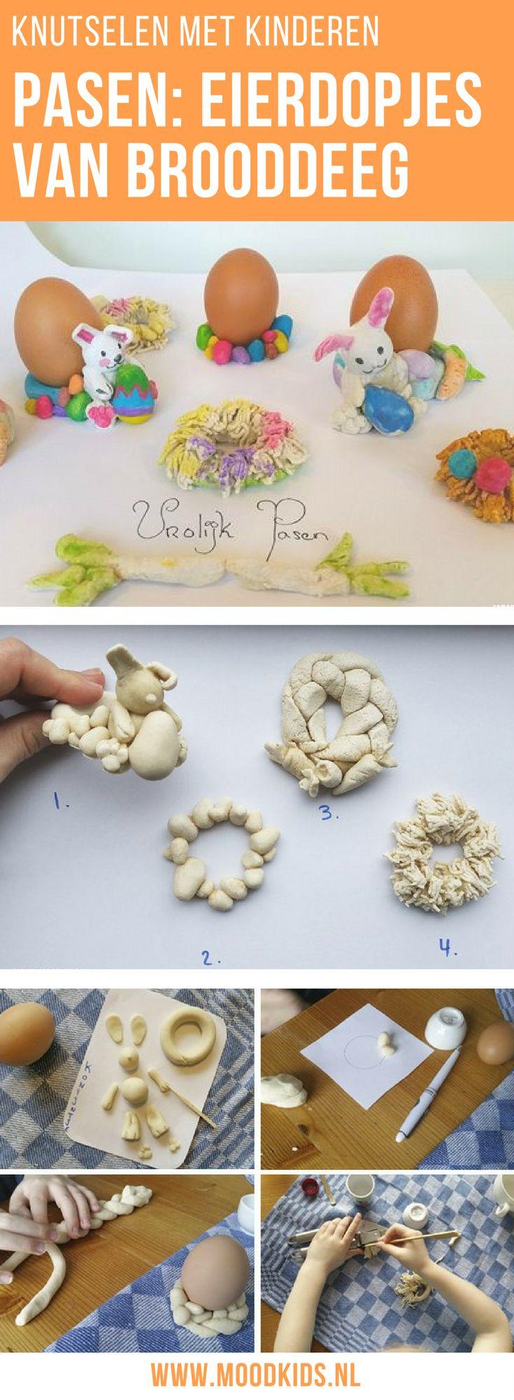 Knutselen met kinderen voor Pasen. Maak deze eierdopjes van zout brooddeeg. Lees de uitleg op de blog >