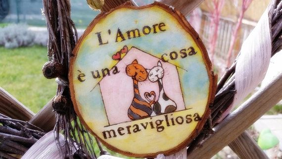 Romantic Message and Painting on Wood Messaggio di LaDolceAria