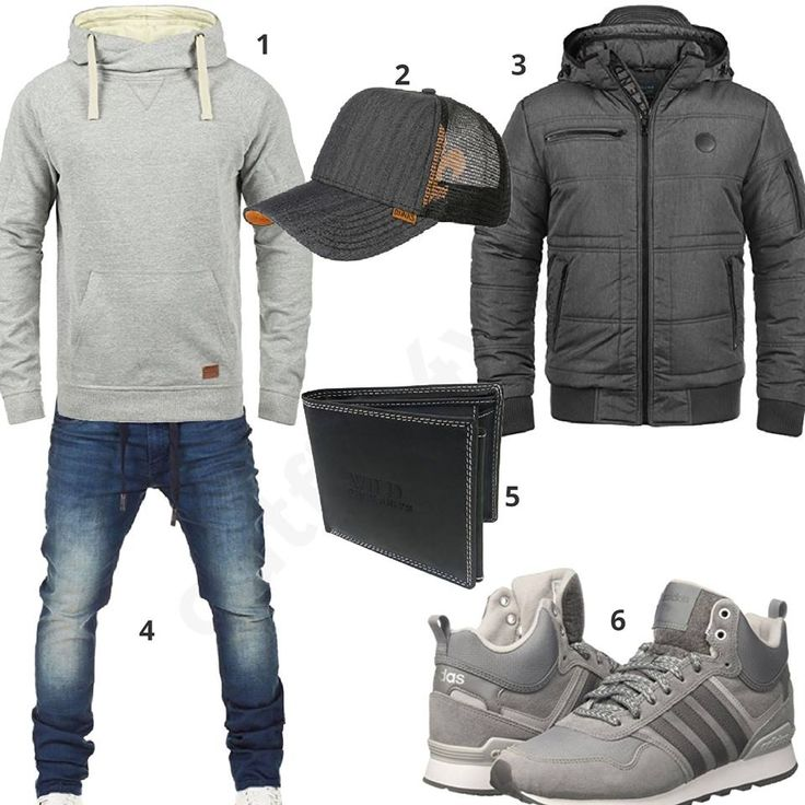 Cooler Herren-Style mit hellgrauem Blend Hoodie, Djinns Cap, grauer Blend Übergangsjacke, Wotega Sweatjeans, Wild's Geldbörse und Adidas Sneakern.