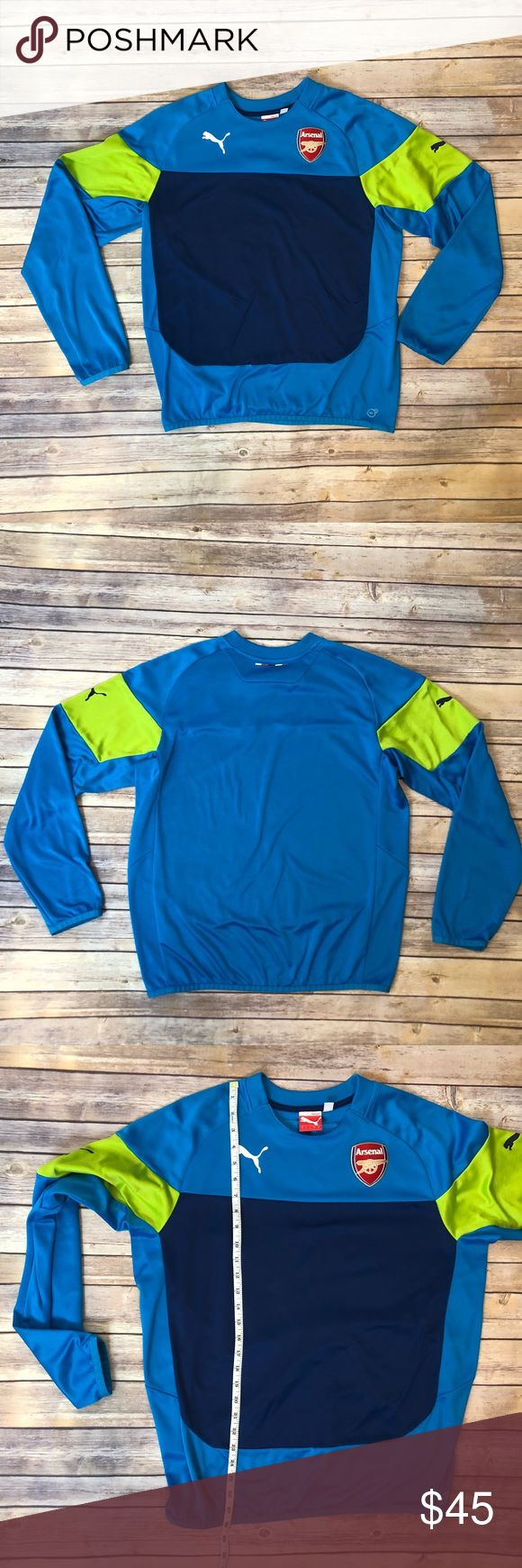 PUMA Men's Arsenal Long Sleeve Soccer Jersey L Puma brand men's long-sleeved Arsenal goalkeeper soccer tee, size large. Bright blue body with navy and vibrant neon green accents. Front arsenal club logo. Measurements and fabric content in photos. Excellent preworn condition, see photo for small fabric snag. Always happy to answer questions! Puma Shirts Tees - Long Sleeve