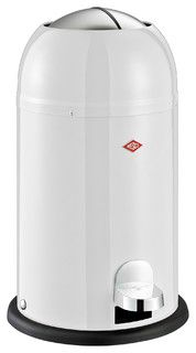 Wesco Kickmaster Jr. Waste Can, White - contemporary - kitchen trash cans - by Lien & Co. Inc.