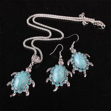 2017 Real New Zinc Trendy Collier Collares 1 Set Pendants Necklace Turquoise Turtle Tortoise Retro Necklaces for Women(China (Mainland))