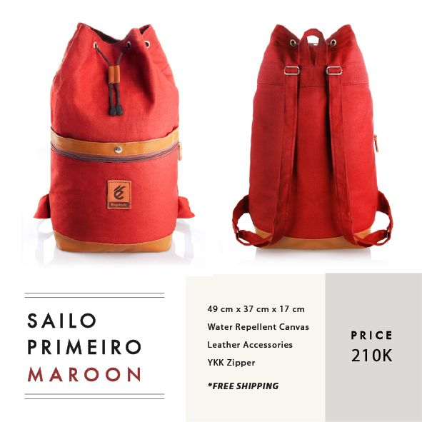 SAILO PRIMEIRO MAROON  IDR 210.000   FREE SHIPPING ALL OVER INDONESIA   Dimension:  49 cm x 37 cm x 17 cm    Material:  Water Repellent Canvas Faux Leather Accessories  YKK Zipper   #GoodChoiceforGoodLooking