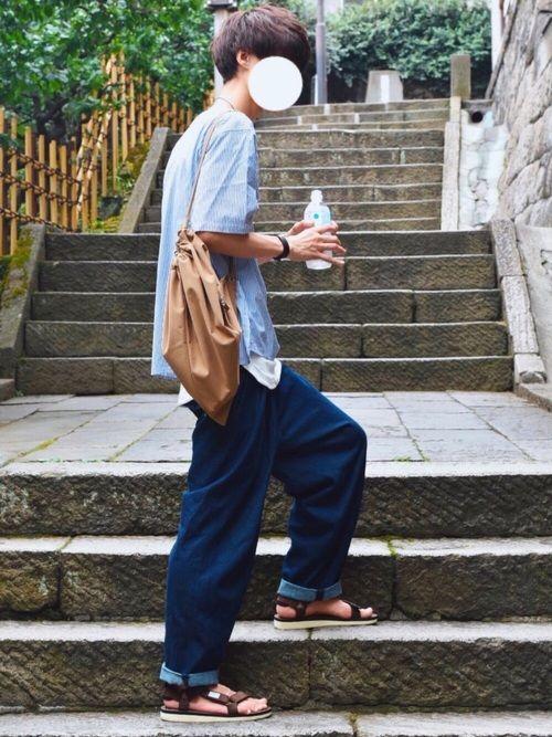 青×白×茶でコーデ 暑いので水は欠かさず