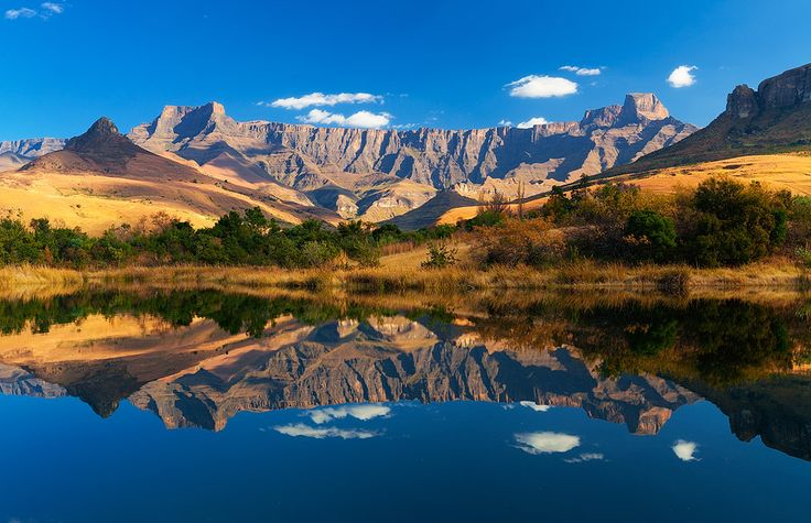 landscape photo of the Amphitheater reflected in a fishing dam, drakensberg, south africa