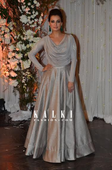 The most beautiful and charming personality of btown never fails to be the eye candy to all her fans with how she carries herself In everything she wears. Dressed in a grey silk floor length gown which was as delicate as her she was spotted at the wedding reception of Bipasha and Karan. Always dressed to the tea, she is ramp ready at all times.