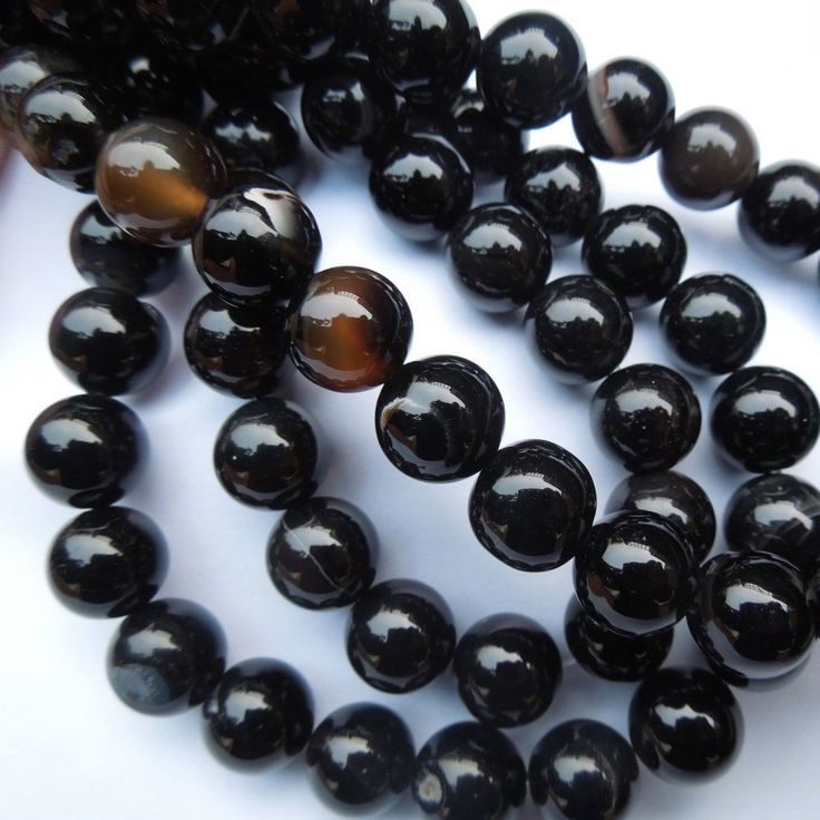 15in Black Agate Round Gemstone Beads for Jewellery Making Size (mm) 10 #Unbranded