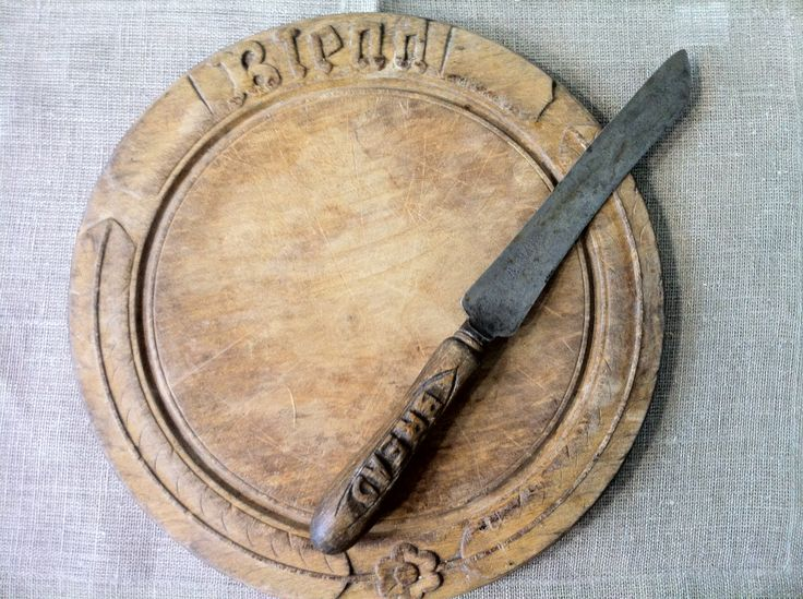 Hand carved antique bread board & knife at Heather Ross Natural Eclectic