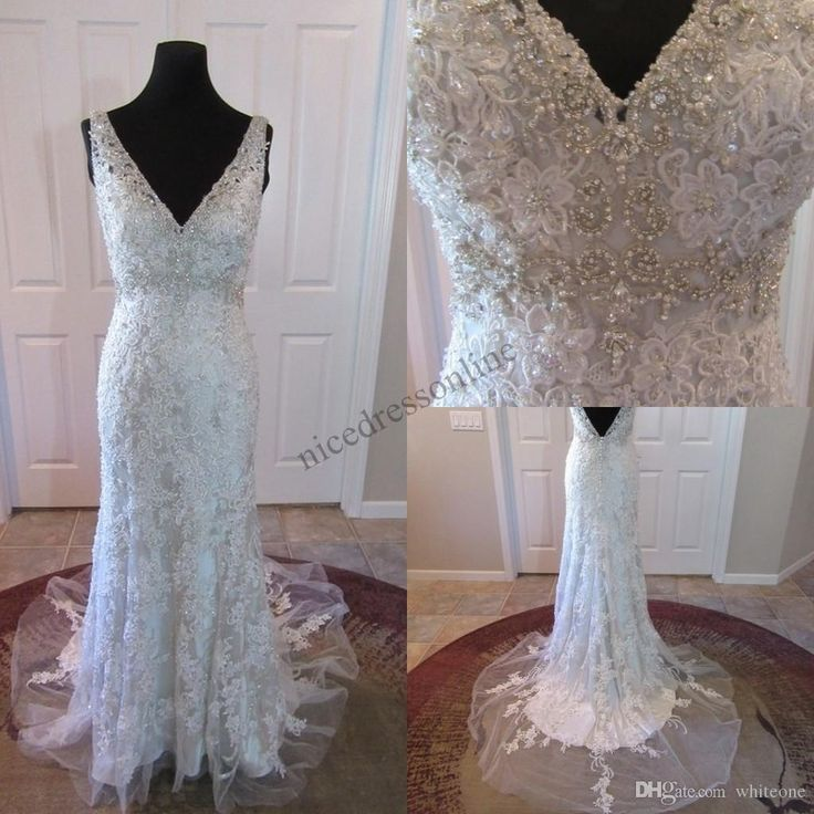 Cheap gorgeous real picture sheath wedding dresses sexy for Deep v back wedding dress