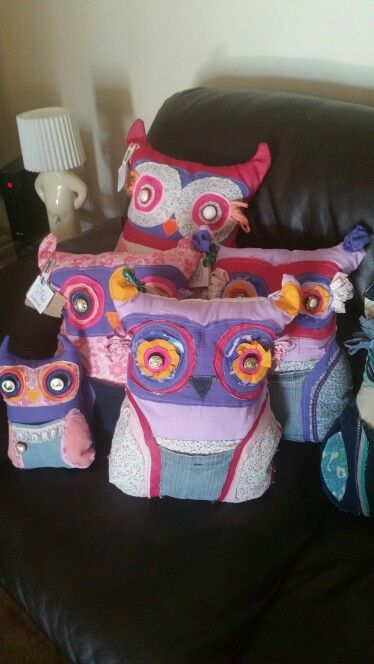 Girly scrappy owls. Handmade recycled gift ideas. For further info contact kirstie_lafferty@hotmail.com