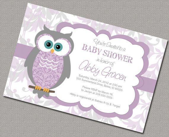 Baby Girl Baby Shower Invitations With Owls Gray Purple