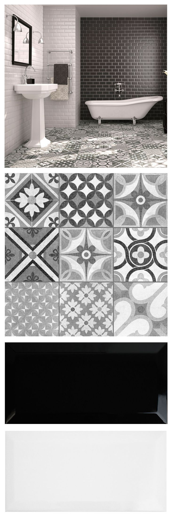 617 best floor tile ideas images on pinterest floors bathroom floor tiles mix brick shaped metros and patterned zeinah tiles for a striking monochrome moroccan mash up in a bathroom or kitchen dailygadgetfo Images