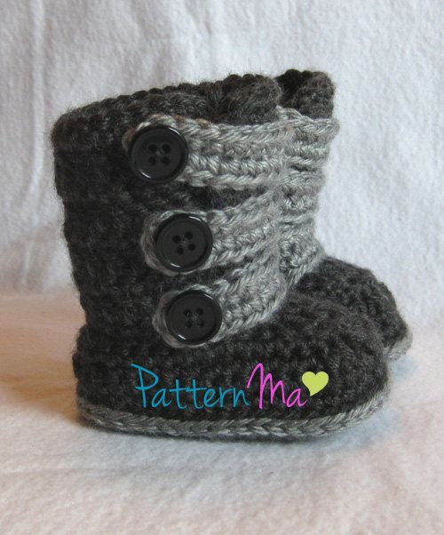 Free Crochet Pattern Baby Ugg Booties : Baby Bootie Pattern PDF Strappy Boots
