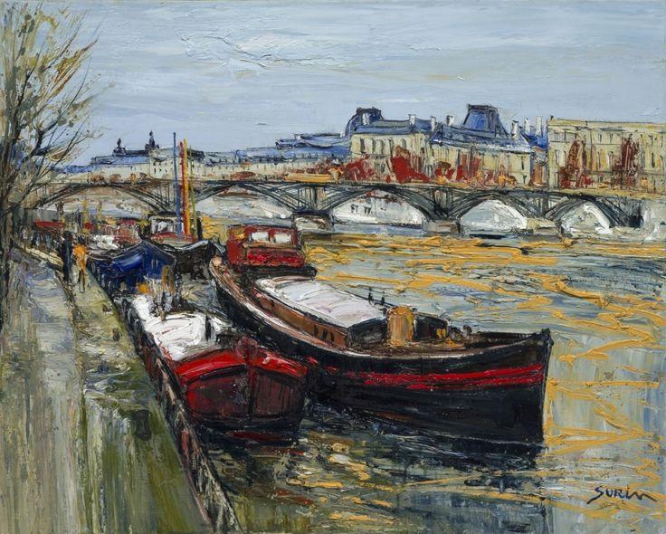 Jean paul surin le louvre au pont des arts huile sur toile format - Toile pont de brooklyn ...