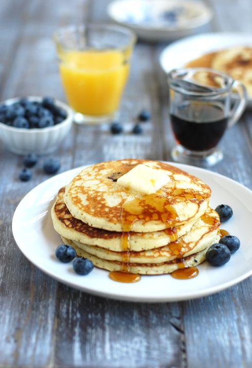 Scratch Blueberry Pancakes. I added a teaspoon of cinnamon, and used this with farmers market blueberries and raspberries. Delish!