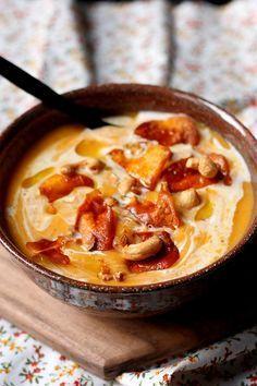 Velouté de patate douce au lait de coco et épice: