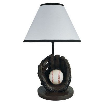 Features:  -White cone-shaped shade.  -Baseball-shaped base, ideal for a kid.  -Painted finish.  Fixture Finish: -Black.  Hardware Finish: -Black.  Hardware Material: -Stainless steel.  Bulb Type: -In
