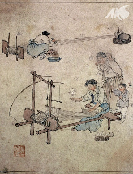 [Middle Ages-Joseon] Painting of a weaving scene, by Danwon Kim Hong-do Provides valuable insight into everyday life of Joseon   Korea
